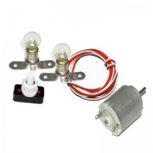 Kit eléctrico escolar con motor bombillas e interruptor tecnología electricidad