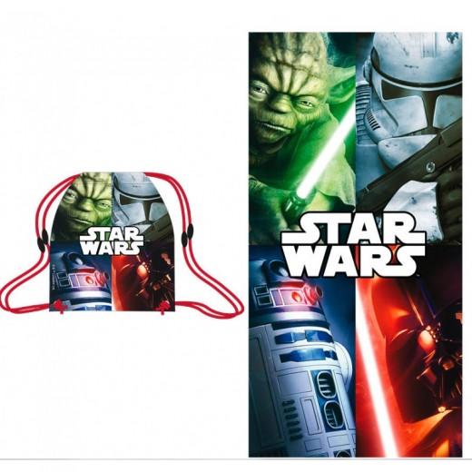 Toalla con saco de Star Wars pack de toalla y mochila saco para piscina playa