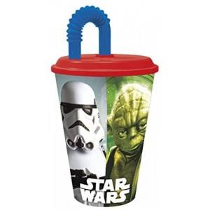 Vaso con caña y tapadera de Star Wars 430 ml grande