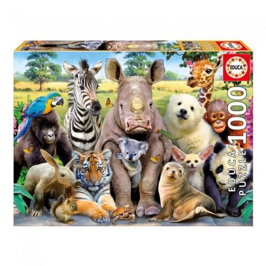 Puzzle de 1000 piezas de Selfie de Animales en la selva sonriendo a foto