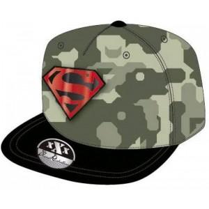 Gorra Hip Hop con visera de Super Man en camuflaje verde bordada DC