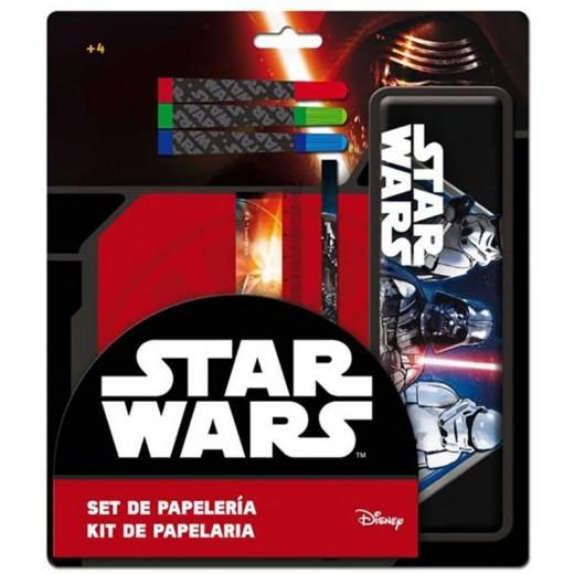 Set de papeleria de Star wars estuche metalicos regla lapiz y rotuladores