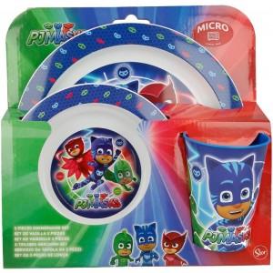Vajilla de PJ Masks vaso plato y cuenco infantil apto para microondas PJMasks
