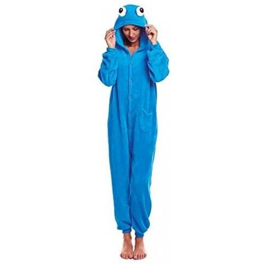 Mono Disfraz Pijama de Monstruo azul come galletas adulto con ojos manta disfraz