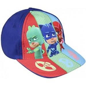 Gorra PjMasks Azul Infantil con dibujos de los 3 personajes de Pj Masks