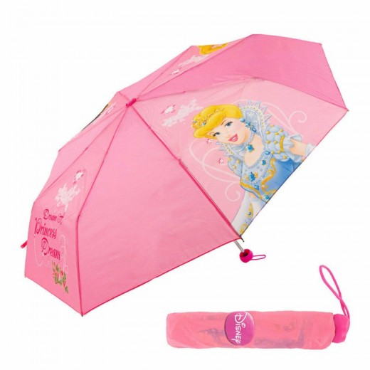 Paraguas plegable de princesas Disney Rosa para niña con funda 46CM