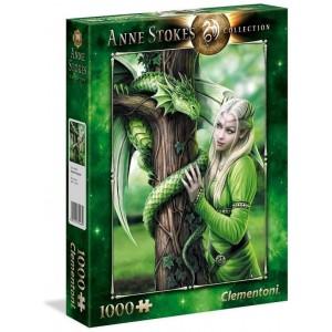 Puzzle 1000 piezas Dragón Verde con guerrera Kindred Spirits de Anne Stokes