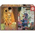Puzzle Doble de 2000 piezas El beso y la Virgen 1000 piezas cuadros Gustav Klimt
