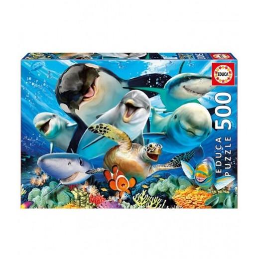 Puzzle de 500 piezas Selfie animales del mar acuaticos tortugas peces delfines