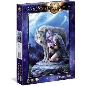 Puzzle 1000 piezas Lobo Blanco con guerrera Protector de Anne Stokes