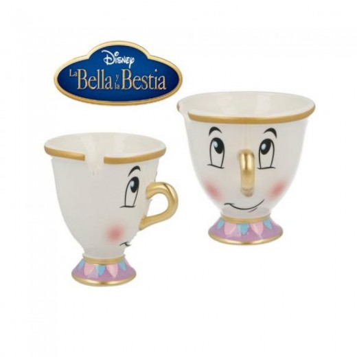 Taza de cerámica de Chip la tazita de La bella y la bestia Original 3D 190ml