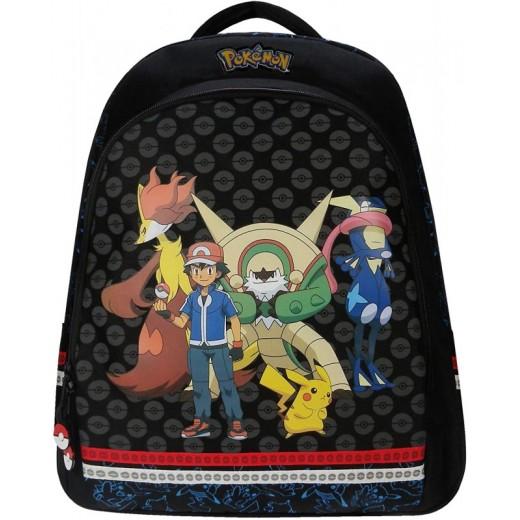 Mochila de Pokemon Negra muy grande para colegio dibujos pikachu ash 44 cm