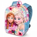 Mochila 3D de Frozen Elsa y Anna Sonriendo Smile rosa y azul flores 31cm