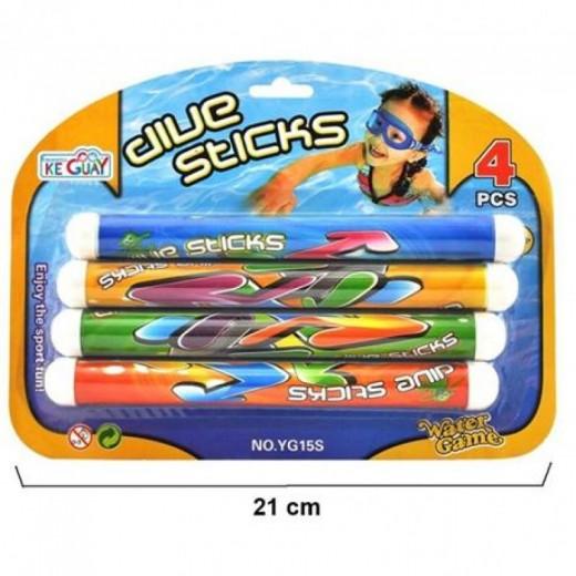 4 Palos sumergibles para jugar a bucear sticks de colores para piscina agua