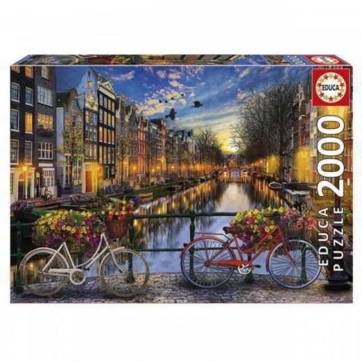 Puzzle De Amsterdam de 2000 piezas bicicletas en canal con flores ciudad colores