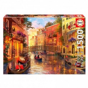Puzzle de 1500 piezas Atardecer en Venecia góndolas paisaje ciudad Italia