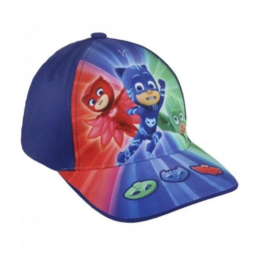 Gorra PjMasks Azul Infantil con dibujos de los 3 personajes de Pj Masks Azul