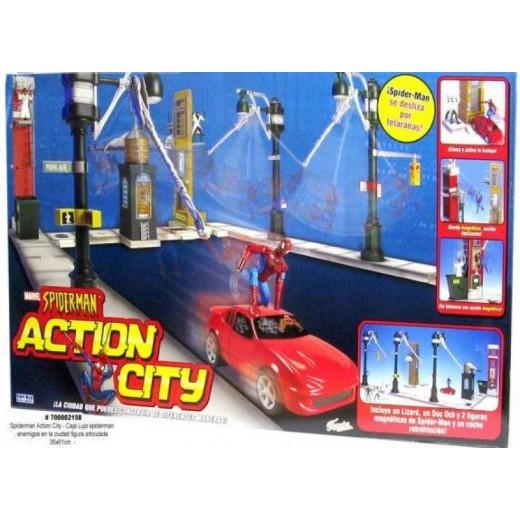 Ciudad Spiderman Action city magnética con varias figuras Spider man Famosa