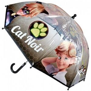 Paraguas de Cat Noir de dibujos animados chico Ladybug transparente 45 cm