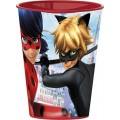 Vaso de Ladybug y cat noir 260 ml rojo plastico para niños dibujos