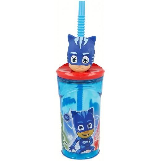 Vaso con caña y tapadera Figura PjMasks Azul Pj Masks cabeza dibujos