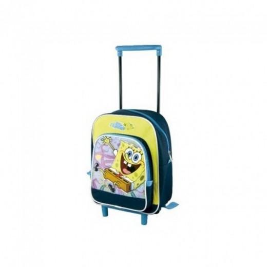 Mochila de Bob Esponja mini preescolar azul con carro trolley 30 cm azul