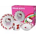 Set de desayuno plato cuenco y vaso de Hello kitty con corazones en caja