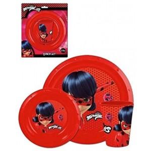 Set infantil de Ladybug plato cuenco y vaso plastico desayuno vajilla rojo