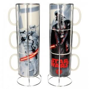 Set de 3 tazas de Star wars de cerámica Darh Vader y STORMTROOPERS apilables