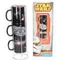 Set de 3 tazas de Star wars de cerámica naves estrella Millennium Falcon