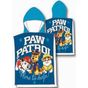 poncho de la patrulla canina 100x50cm con gorro secado rapido azul perritos