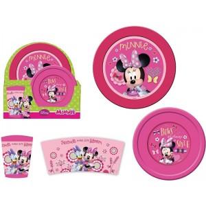 Set de desayuno Minnie Mouse 3 piezas plato cuenco y vaso Rosa infantil