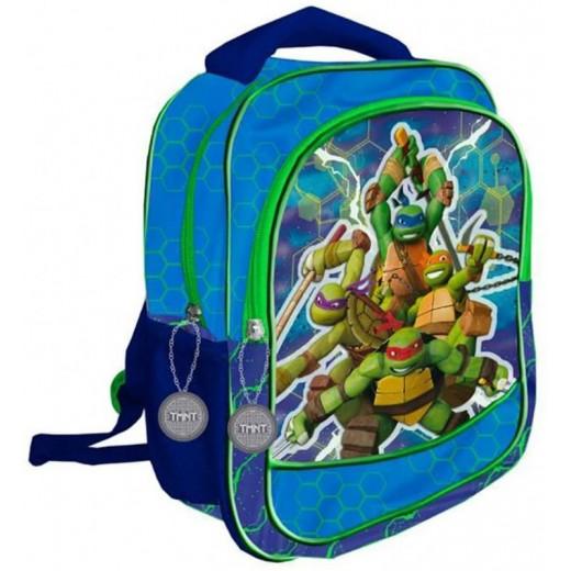 Mochila 3D de las tortugas ninja en relive azul y verde colegio doble cremallera