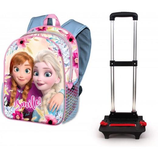 Mochila con carro de Frozen Elsa y Anna rosa y azul para colegio grande 40 cm