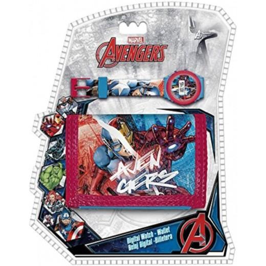 Set de Reloj digital y cartera billetero de los Vengadores Marvel Avengers