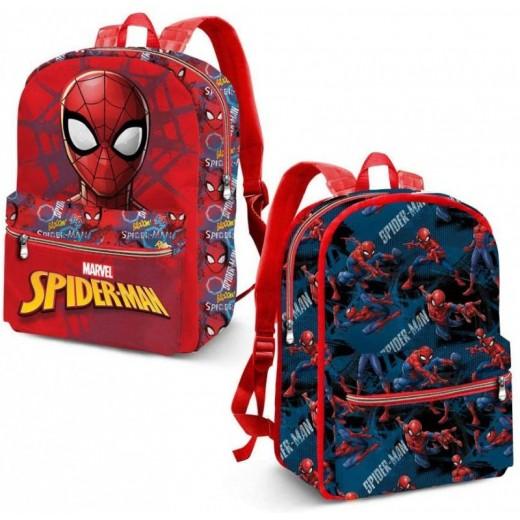MOCHILA de Spiderman reversible para colegio Azul y Roja 31 cm