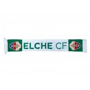 Bufanda del equipo Elche club de futbol de Alicante Verde y blanca con Escudo