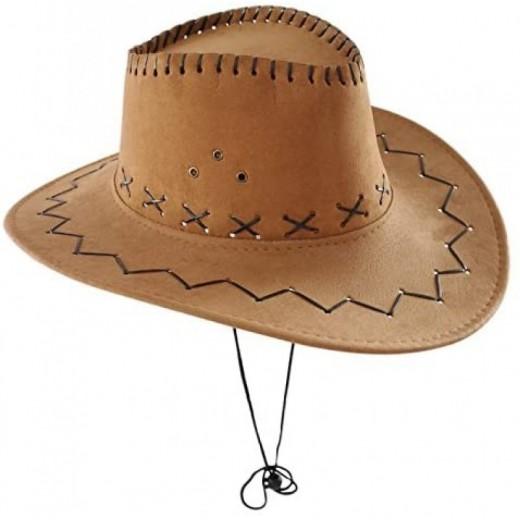 Sombrero de vaquero cowboy marron para adulto tipo disfraz grande