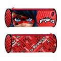 Portatodo estuche de Ladybug rojo redondo para colegio lapices escuela