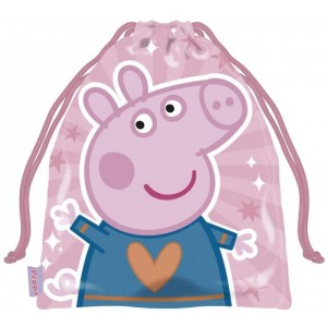 Bolsa saco de Peppa pig pequeña de merienda y almuerzo colegio guardería 25 cm