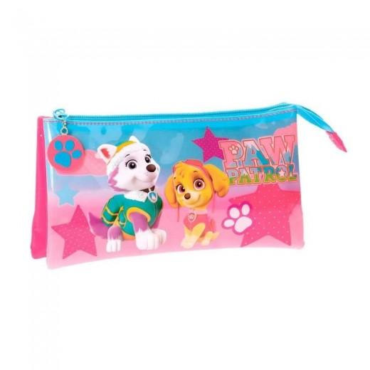 Estuche Triple la patrulla canina Skye y Everest 3 cremalleras rosa portatodo