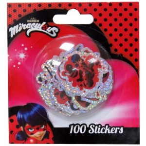 100 Stickers Pegatinas de Ladybug a todo color y brillantes pequeños cat noir