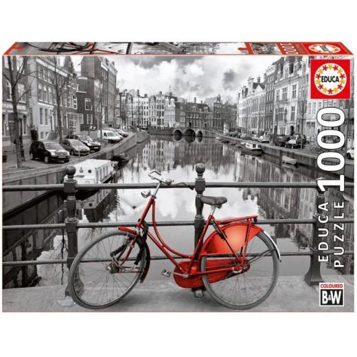 Puzzle Bicicleta en Amsterdam blanco y negro de 1000 piezas