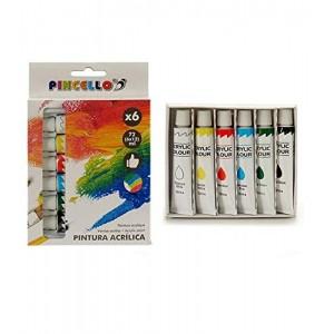 6 Botes de pintura acrílica de colores 12 ml