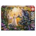 PUzzle de Dragón princesa y unicornio en el bosque de 1500 piezas