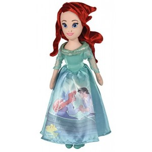 Peluche princesa La Sirenita Arielle de 25 cm vestido brillante Ariel peliroja