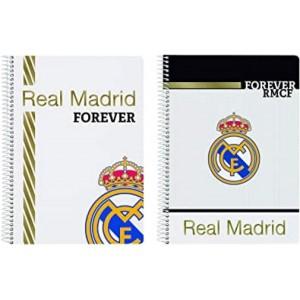 LIBRETA A5 pequeña DEL REAL MADRID Forever de cuadros colegio tapa dura 80 hojas