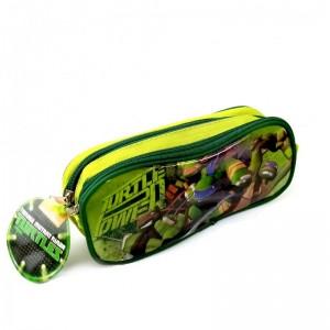 Estuche portatodo con 2 cremalleras las tortugas ninjas turtles Verde