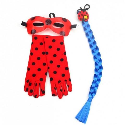 kit disfraz ladybug coleta azul, guantes y antifaz pack complementos lady bug
