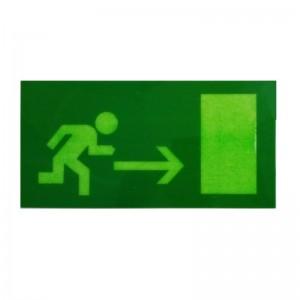 Pegatinas de señalización fluorescente salida derecha salida de emergencia exit